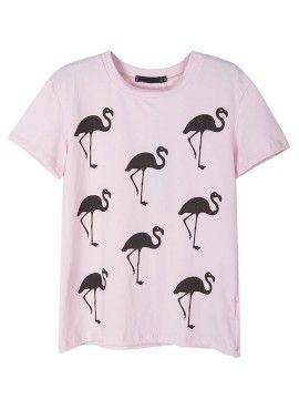 Shop Pink Flamingo Print Short Sleeve T-shirt from choies.com .Free shipping Worldwide.$17.99