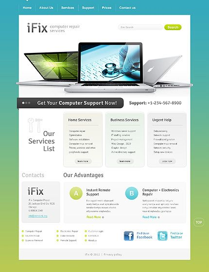 Awesome Computer Repair Service Website Design Computerrepair Webdesign Computer Repair Computer Repair Services Website Template