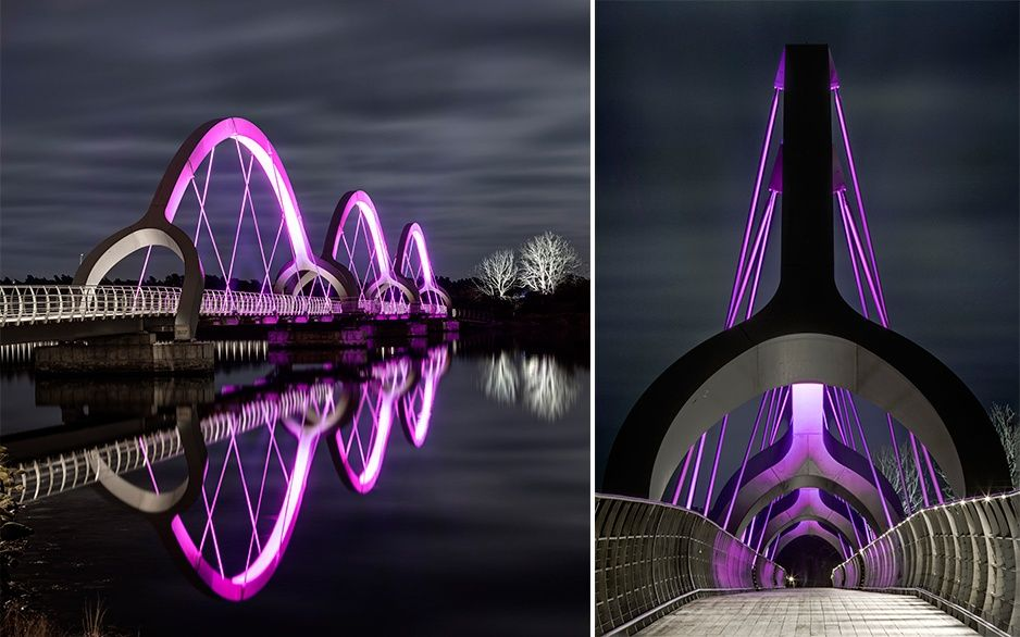 A spectacular programmable #LED fixture to light up this pedestrian #bridge & create reflections on the water.  Take a ride on Sölvesborg Bridge in Sweden, #project by Ljusarkitektur: a #lighting attraction for tourists! #light #architecture #design #ddn #designdiffusion