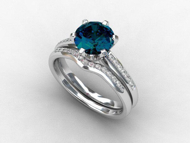 engagement ring set London blue topaz Diamond band wedding ring