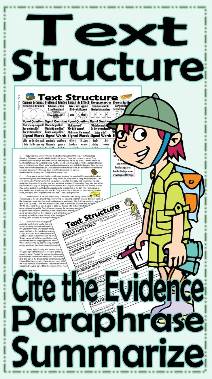 Text Structure Summarize Paraphrase Cite The Evidence Activitie Cody S Trip Lessons How To Signal Begining Of