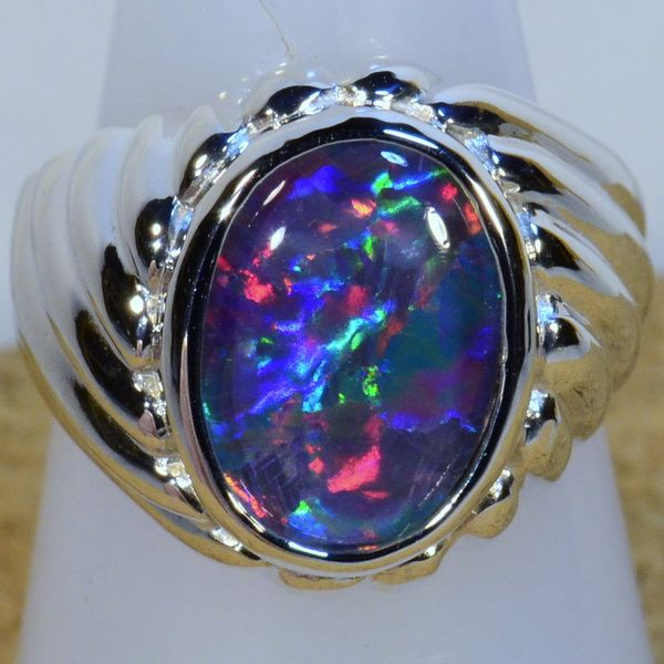 Mens Solid Sterling Silver Australian Opal Ring Stunning Fiery Absolutely Awesome Reds With Greens And Blue Australian Opal Ring Opal Rings Cheap Silver Rings