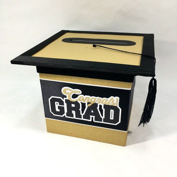 black and gold graduation cap card box personalize with