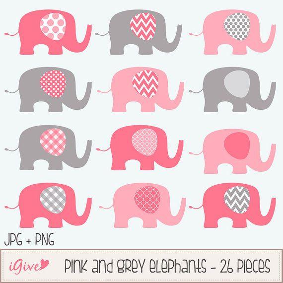 Elefantes de color rosa y gris bebé Clip conjunto de arte / ilustración del elefante / imprimible Clip Art / comercial / moderno arte / color de rosa