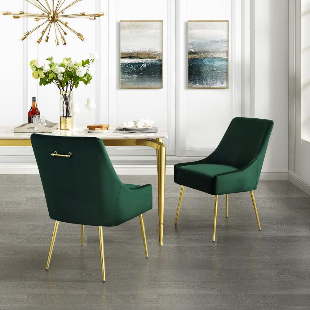 Inspired Home Capelli Emerald Gold Velvet Metal Leg Armless Dining