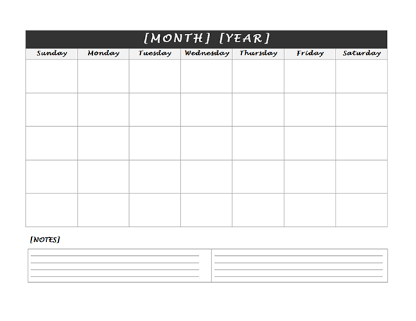 Monthly Blank Calendar With Notes Spaces  Calendars