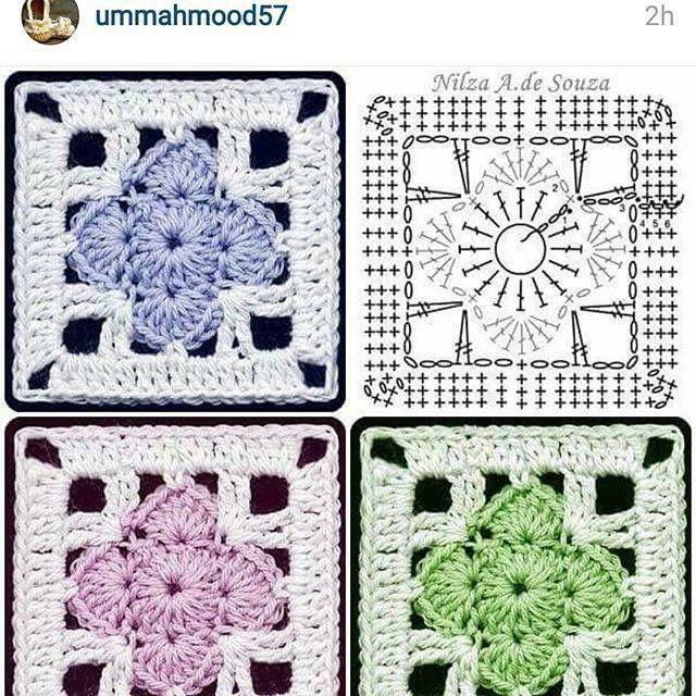 Pin by Zsuzsanna Koltai on horgolt négyzetek | Pinterest | Crochet ...