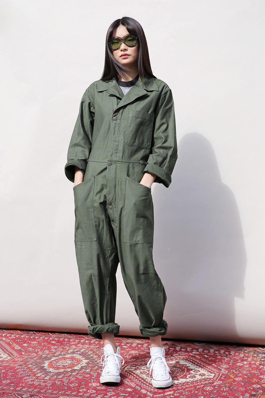 eec41e114103 Vintage Military Boiler Suit Green - Jumpsuits   Playsuits - Women ...