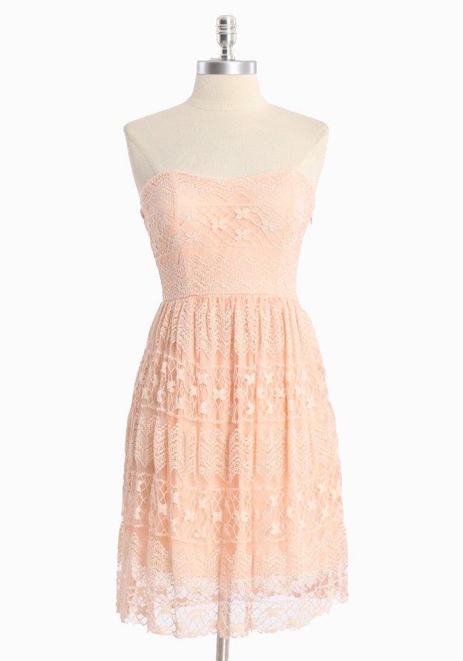 Glowing Emblem Lacy Strapless Dress In Pink | Modern Vintage Dresses