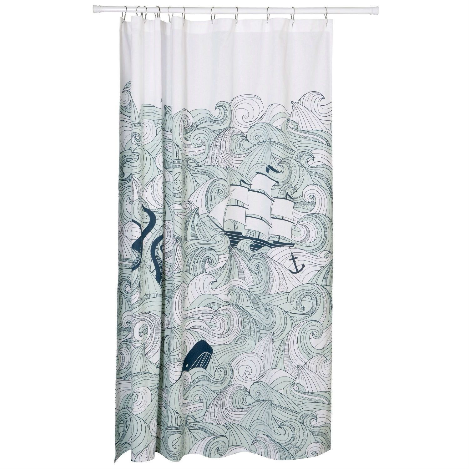 Mustache shower curtain - Cotton Shower Curtain With Waves Ship Anchor Octopus Mermaid