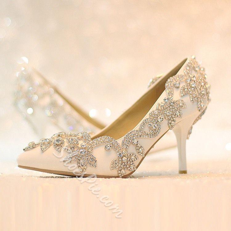 Shoespie Rhinestone Low Heel Wedding Shoes Wedding Shoes High Heels Wedding Shoes Heels Bridal Shoes Low Heel