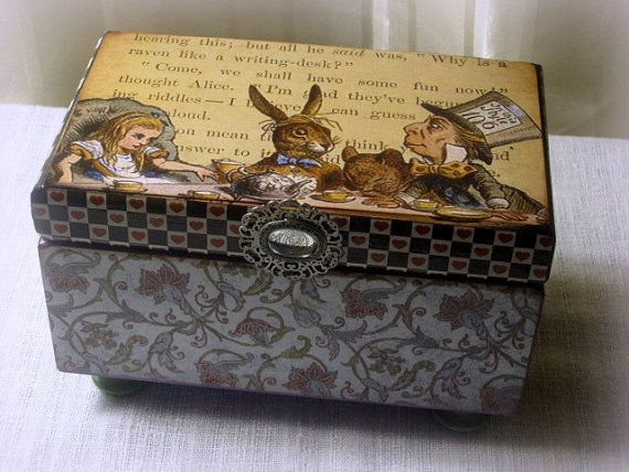 Alice in Wonderland Jewelry Box Mad Hatters Tea Party box