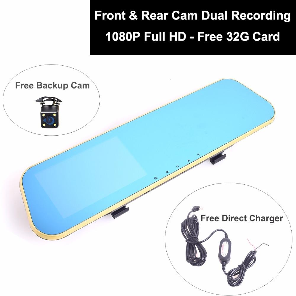 69.99$  Watch now - http://alitba.shopchina.info/go.php?t=32697061894 - Auto Truck 12-24V  Car DVR Camcorder 1080P Full HD Digital Video Recorder Rear View Mirror Mount Dual Lens Free 32GB Black Box  #magazine