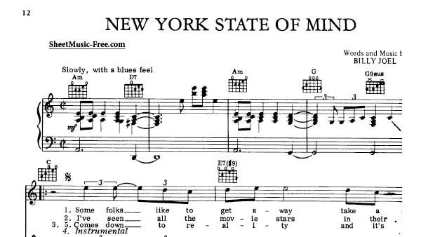 New York State Of Mind Sheet Music Billy Joel General Pinterest