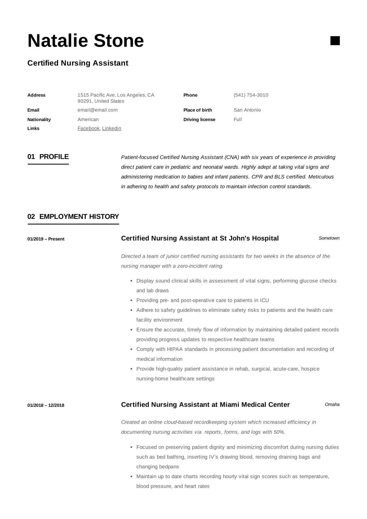 Certified Nursing Assistant Resume & Writing Guide 12