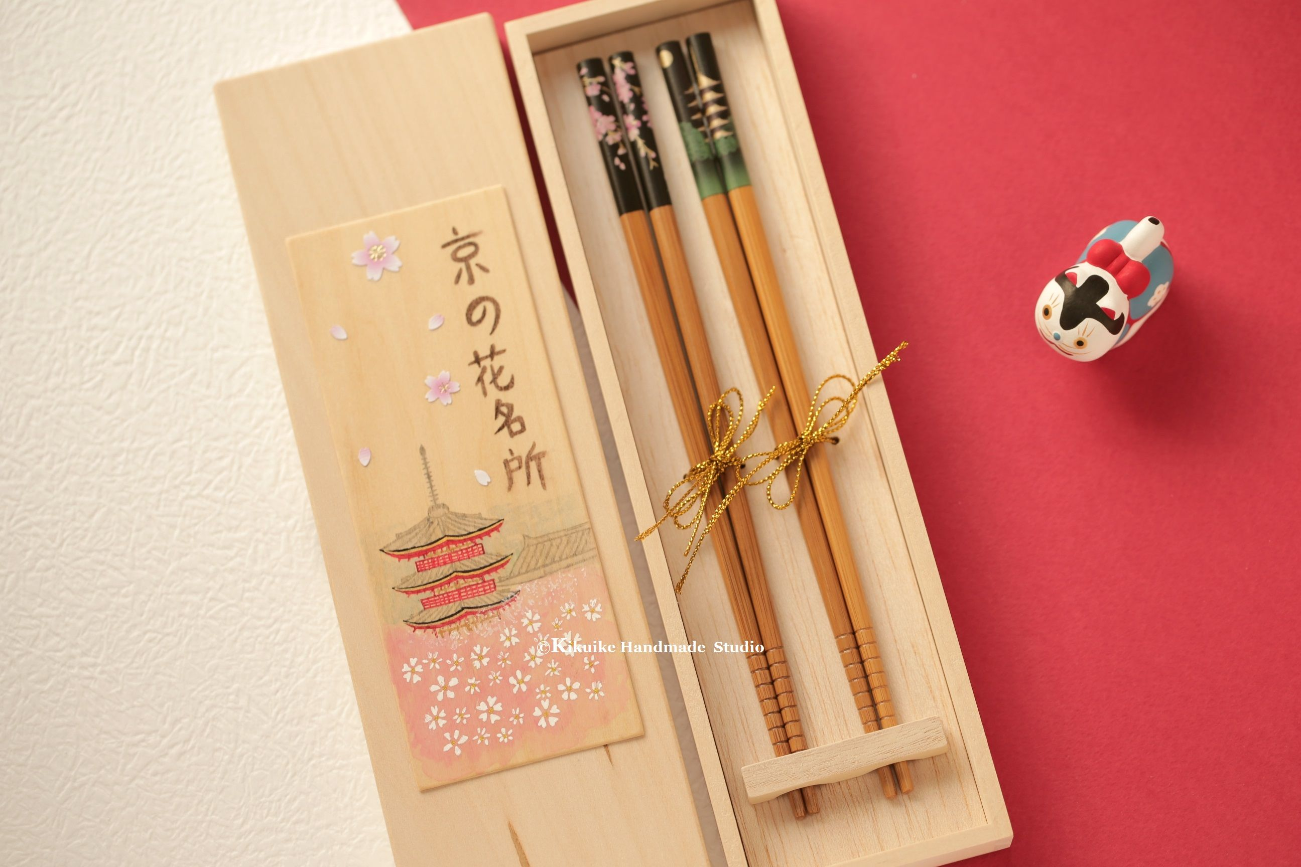 Handmade Japanese Chopstickshandmade Hand Painted Wooden Box