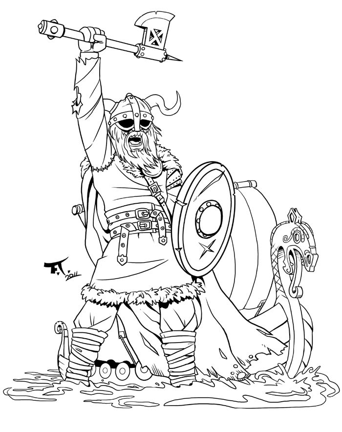 viking warrior by boat with axe raised coloring page