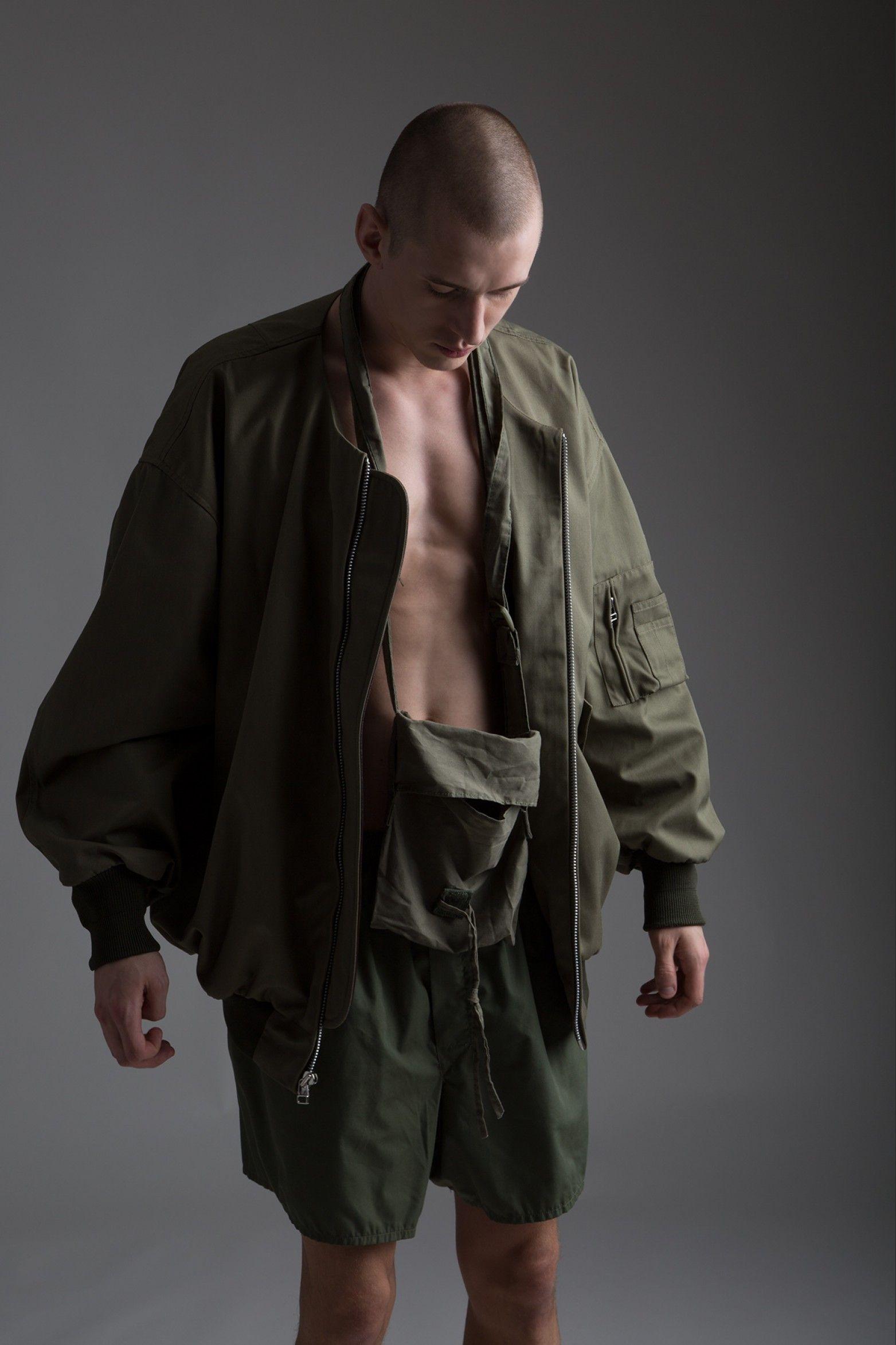 Hed Mayner Men's Oversized Bomber Jacket, Military Surplus
