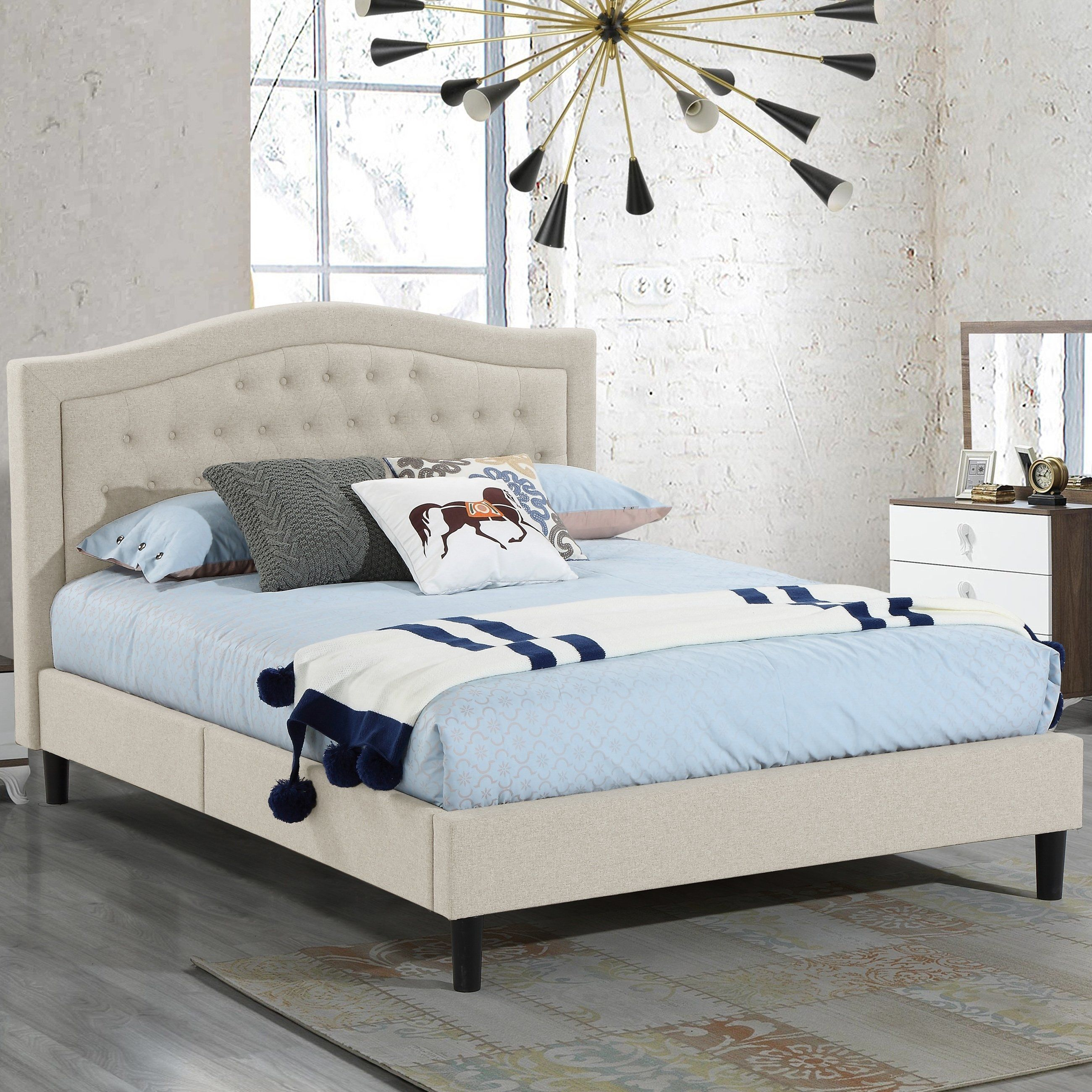 f035475021ca57 Alma Beige Upholstered Platform Bed with Decorative Stitching and Button Panel  Headboard Queen Size