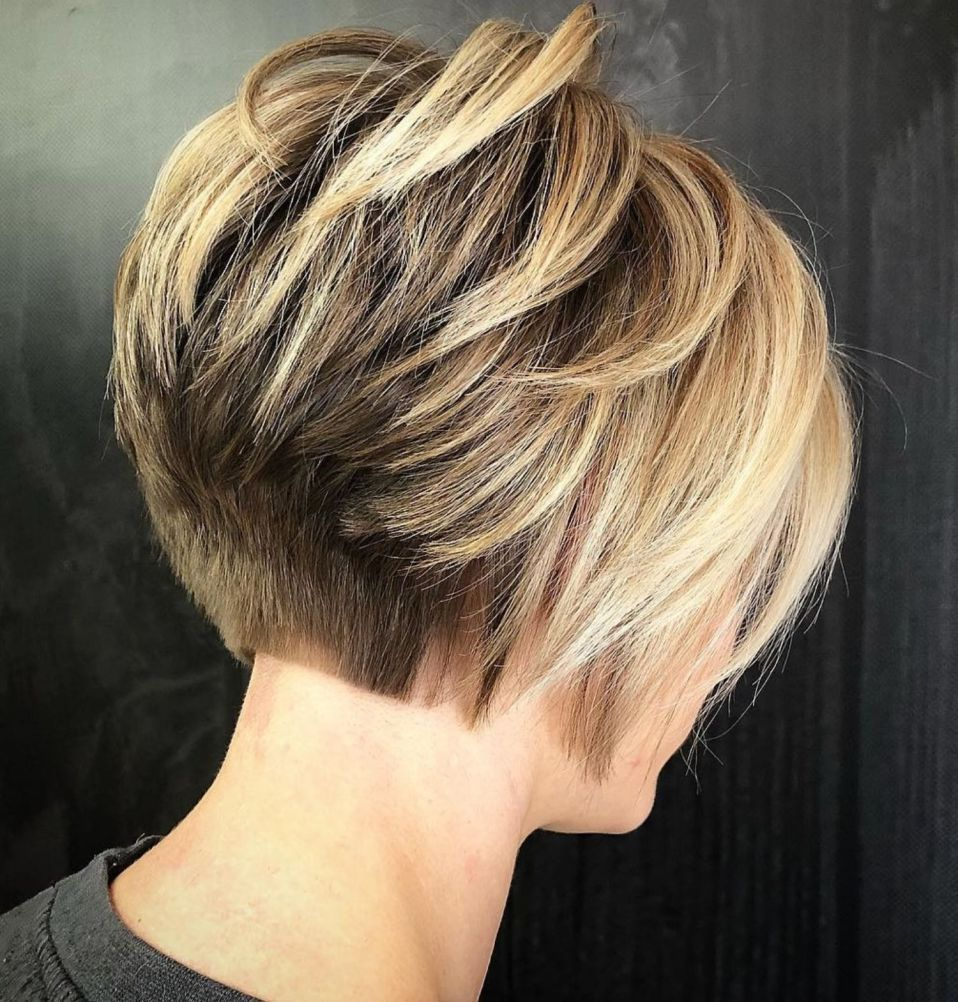Short Stacked Bronde Bob For Thick Hair In 2020 Bob Hairstyles For Thick Thick Hair Styles Hair Styles