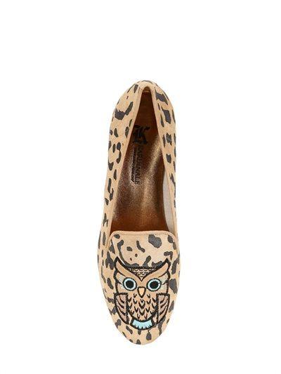 Loja mulheres, sapatas, Loafers on-line e comprar Kardinale - 10mm Suede Leopardo Coruja Loafers - 10mm Heel. Contornos em couro metalizado. Couro a ...
