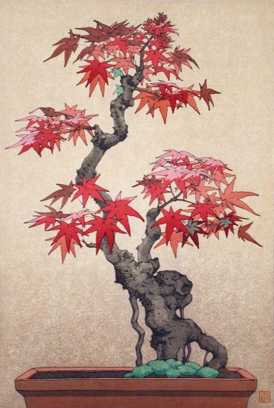 Maple Yoshida Tsukasa (Japan, born 1949) Japan, 1970 Prints; woodcuts Color woodblock print Image: 14 5/8 x 9 15/16 in. (37.15 x 25.25 cm); Sheet: 16 x 11 3/16 in. (40.64 x 28.42 cm) Gift of Chuck Bowdlear, Ph.D., and John Borozan, M.A. (M.2000.105.87) Japanese Art