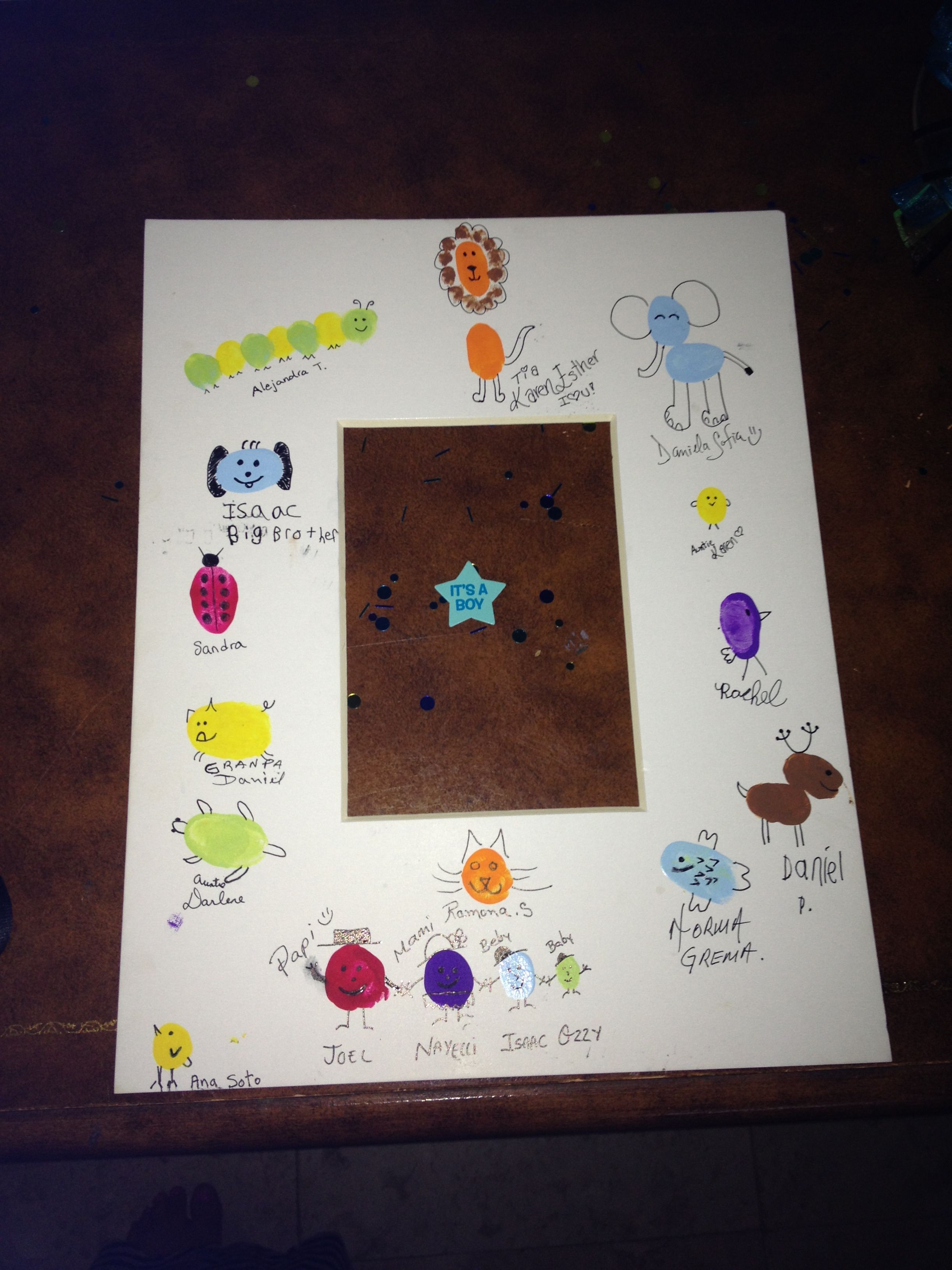 Animal Theme Baby Shower Guest Sign In Picture Frame Thumb Print
