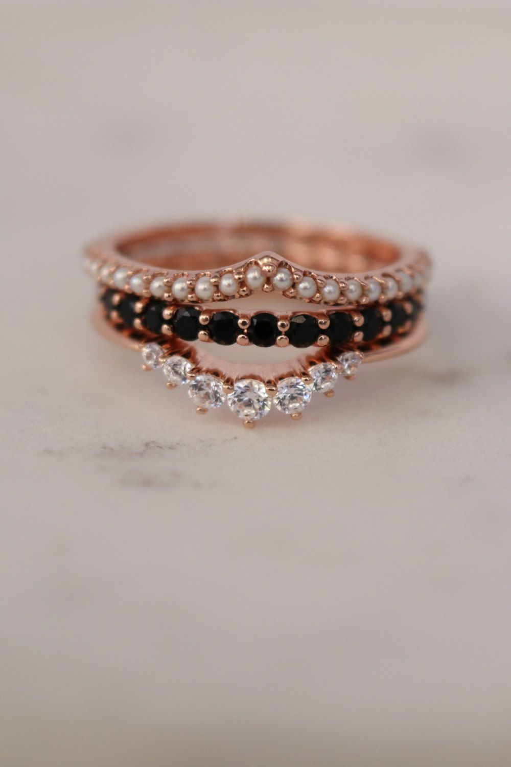 THREE STACKABLE BANDS This adorably dainty Pearl Contour