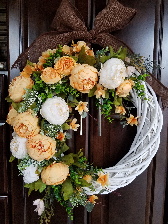 Photo of Summer Wreath for Front Door, Peony Wreath,  Modern  Floral Wreath, Orange Wreath