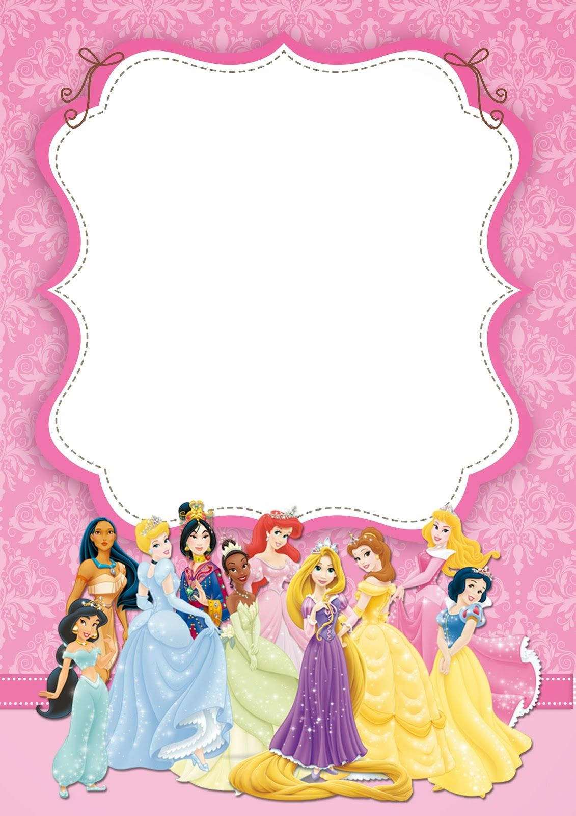 free printable princess invitations