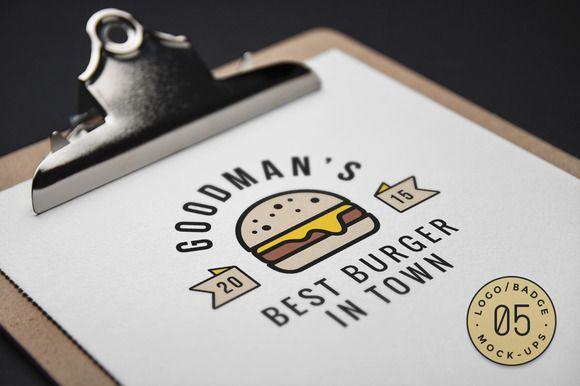 10 Logo Badge Mock Ups Vol 5 Graphic Burger Logo Mockup Logo Design