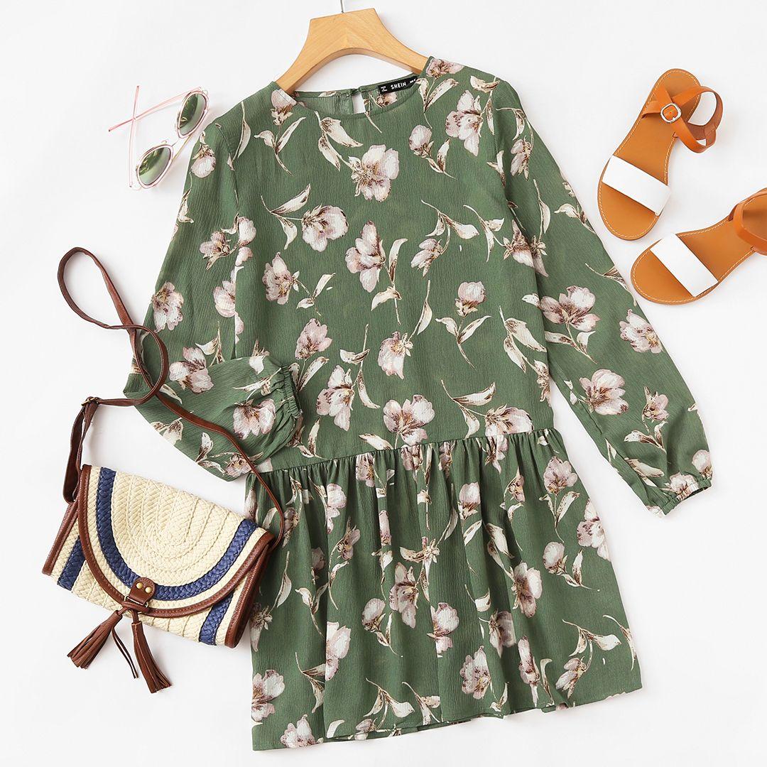 Mix & Match Allover Flower Print Lantern Sleeve Drop Waist Dress