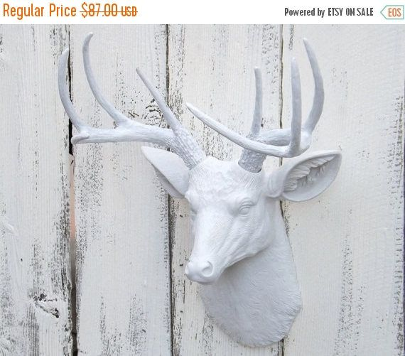 On White Deer Head Decor Choice Color
