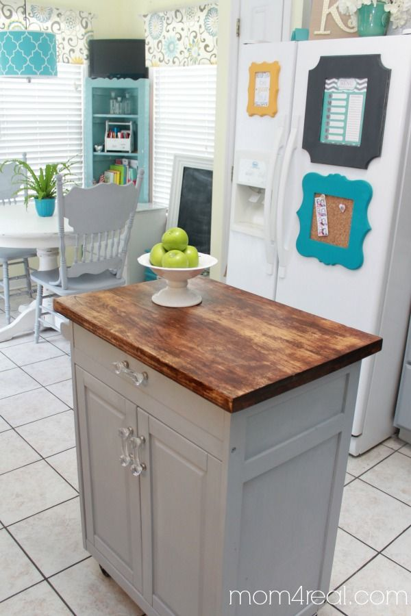 Microwave Cart Turned Kitchen Island Mom 4 Real Kitchen Design Small Diy Kitchen Island Diy Kitchen