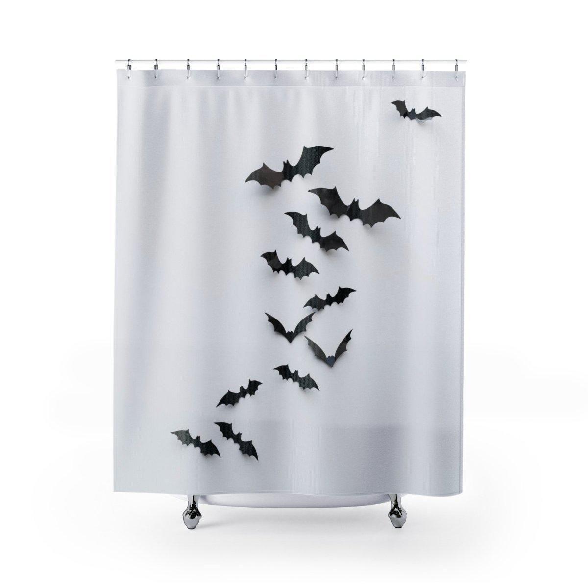 Black Bat Shower Curtain Halloween Shower Curtain Curtains Shower
