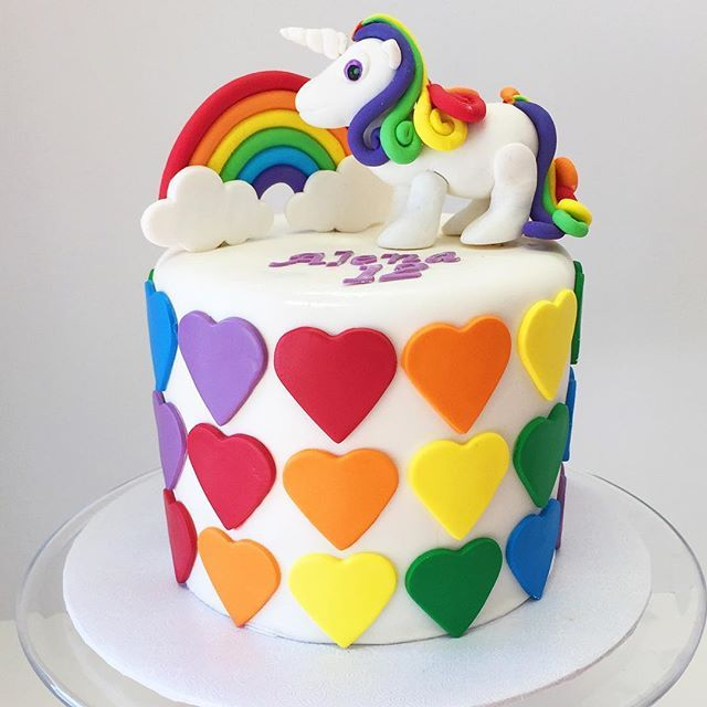 Tremendous Rainbow Unicorn Cake Delivered To A Special Client Personalised Birthday Cards Arneslily Jamesorg