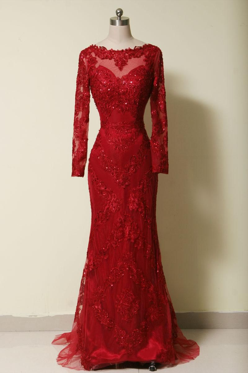 New arrival red full sleeve evening dresslong formal charming