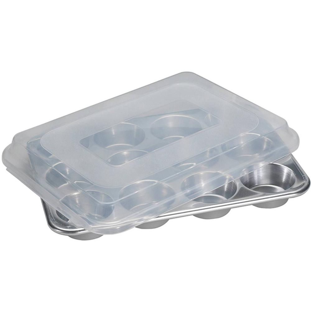 nordic ware naturals 12 cavity muffin pan with lid aluminum bpa free plastic cover lifetime warranty 2 75 x 2 75 x 1 13 walmart com nordic ware bpa free plastic muffin pan pinterest