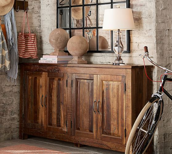 Best Bowry Large Reclaimed Wood Media Console Rustic Reclaimed 400 x 300