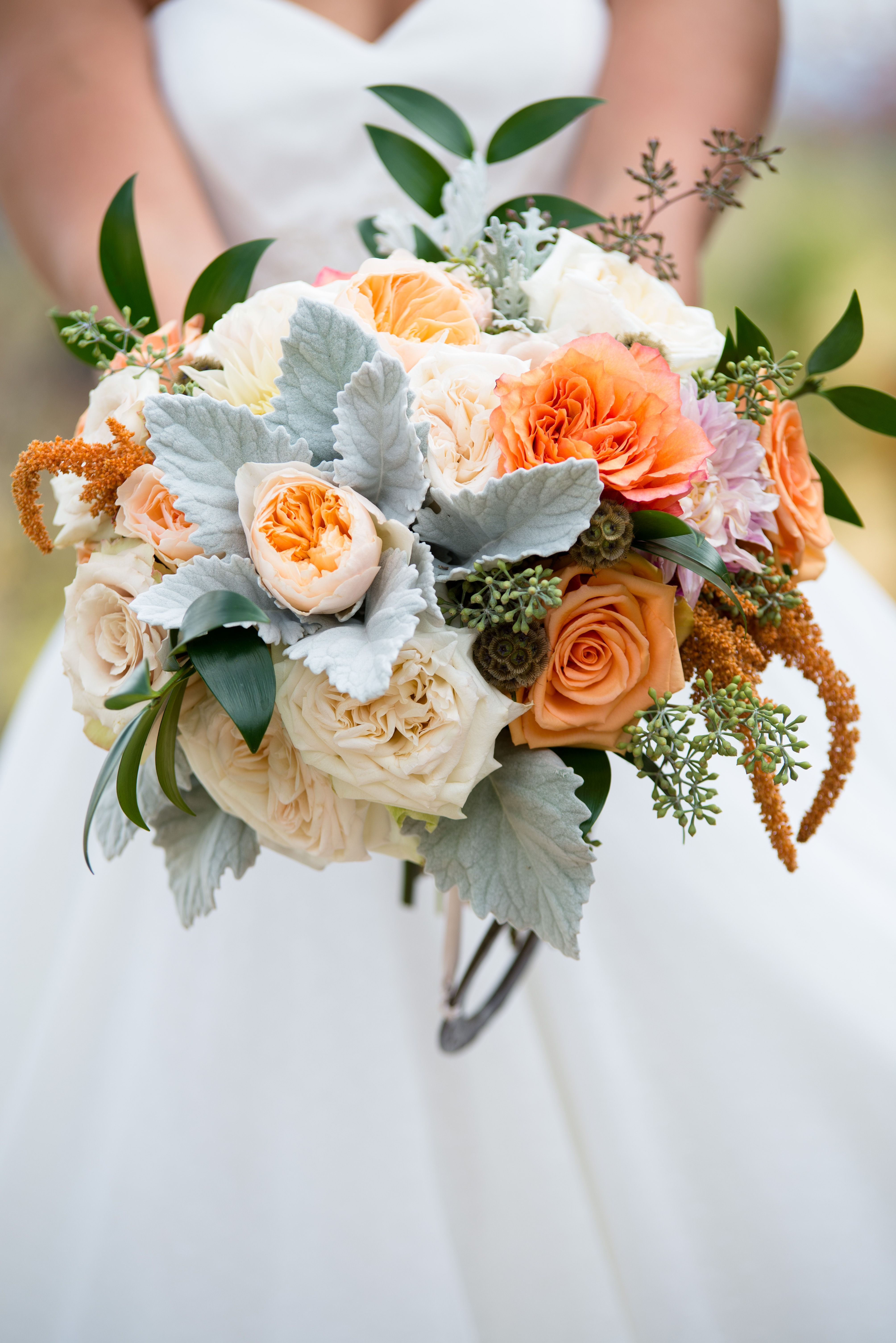 Orange Cream And Gray Fall Bridal Bouquet Featuring Roses Dusty