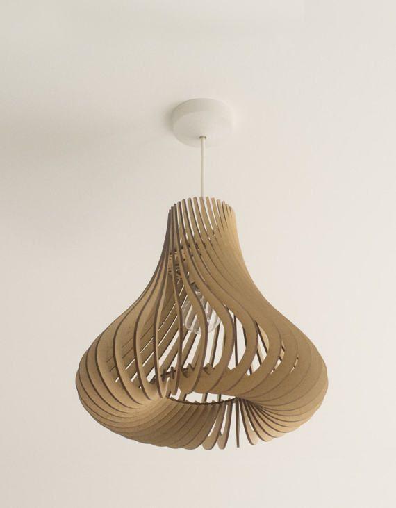Verdrehte Lasercut Lampenschirm aus Holz Nr. 4 Hershey