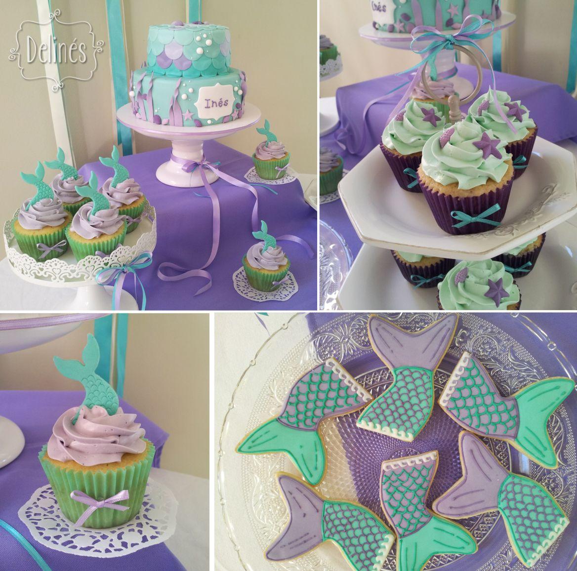 Comestible Cola De Sirena Conchas estrellas de mar Sugarpaste Pastel Cupcake Decoraciones