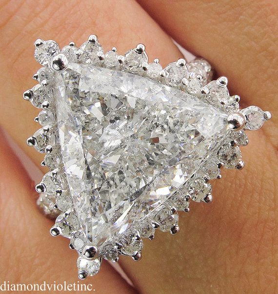 7.10ct Estate Vintage Trillion Diamond Engagement by DiamondViolet