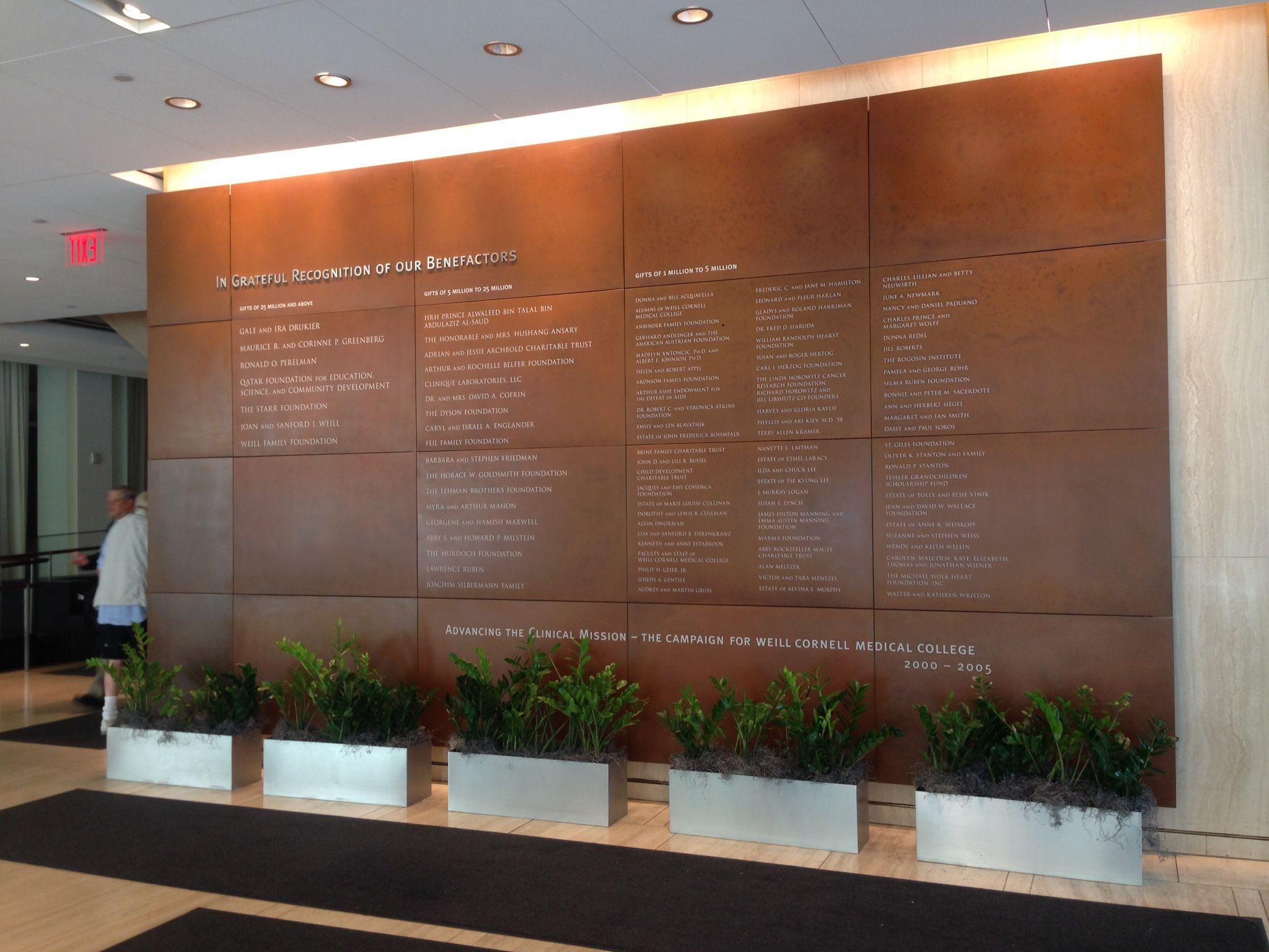 Jaroff design 39 s corten steel donor wall created for weill - Cornell university interior design program ...