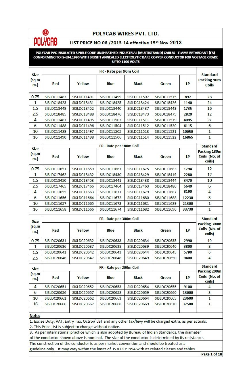 Polycab Cables Wires Price Chart List Available Polycab The Rh Pinterest  Com Price List Template Excel