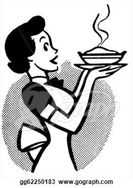 Cooking Clip Art Black And White Clip Art A Black And White Version Of A Vintage Cartoon Of A Woman Vintage Cartoon Clip Art Vintage Vintage Illustration