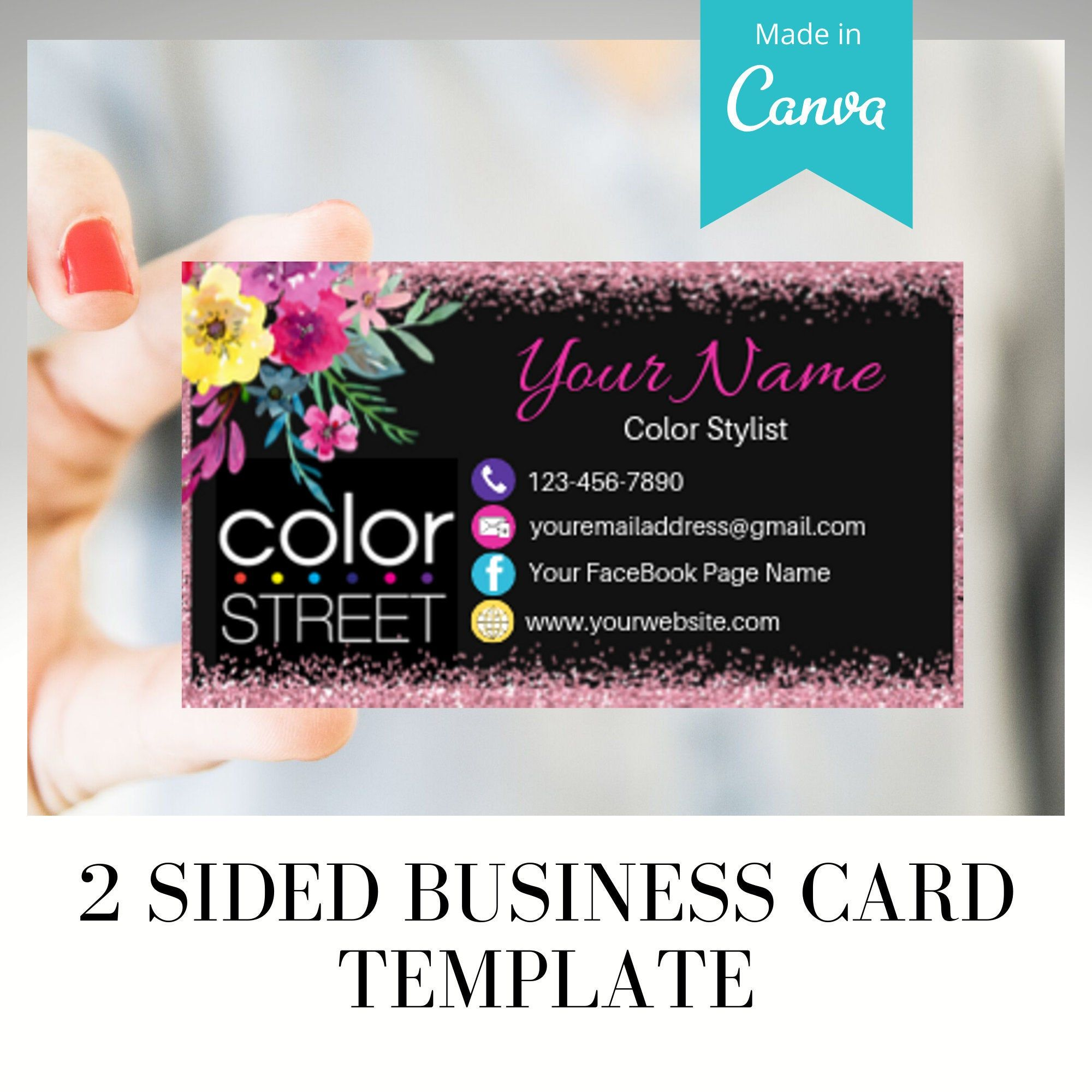 Pre Made Color Street Business Card Template Business Card Printable Template Print Printable Business Cards Business Cards Diy Templates Business Cards Online