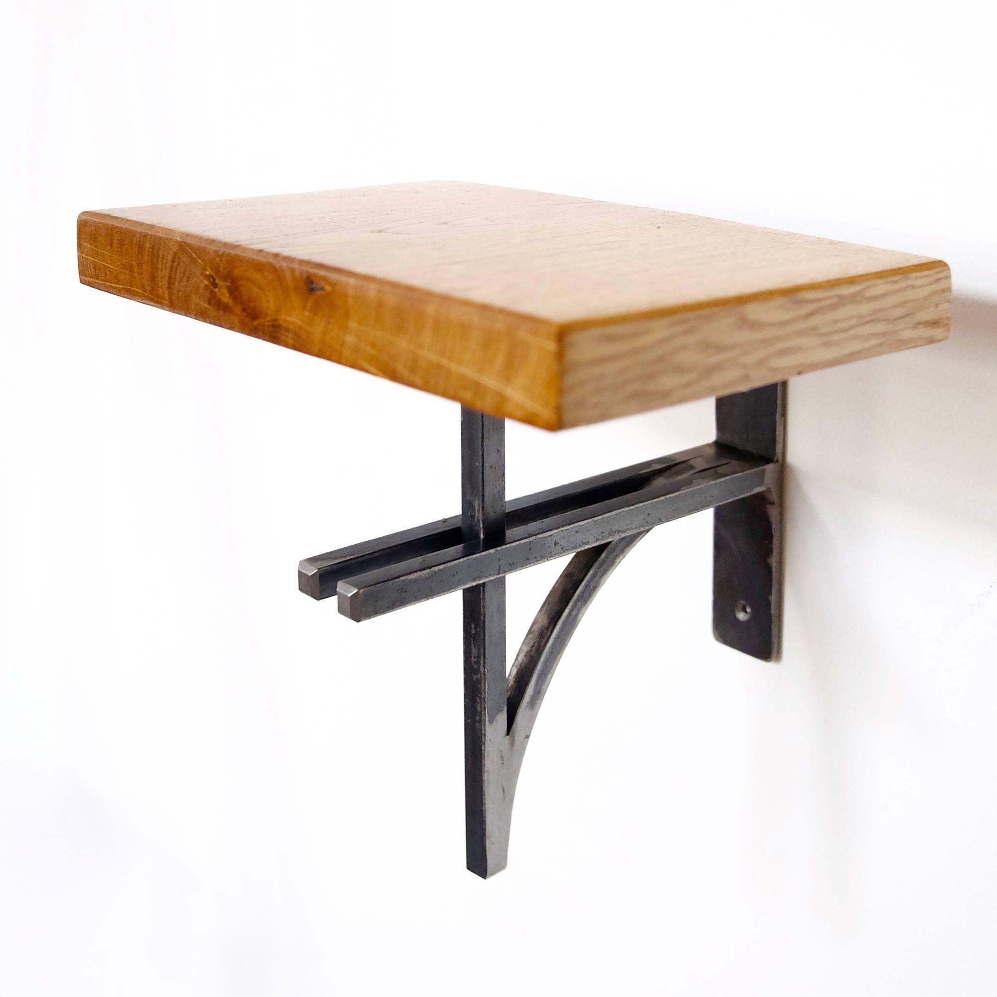 Small Oak Shelf with Steel Bracket - Plant Stand/ Shelving - Modern Industrial Chic, Handmade by escafell on Etsy https://www.etsy.com/uk/listing/526750701/small-oak-shelf-with-steel-bracket-plant