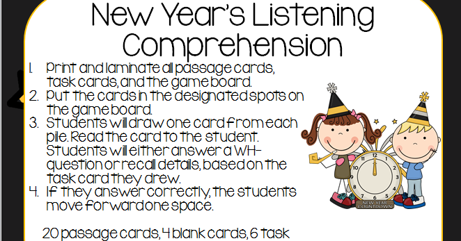 New Year's Listening Comprehension *Freebie* Listening