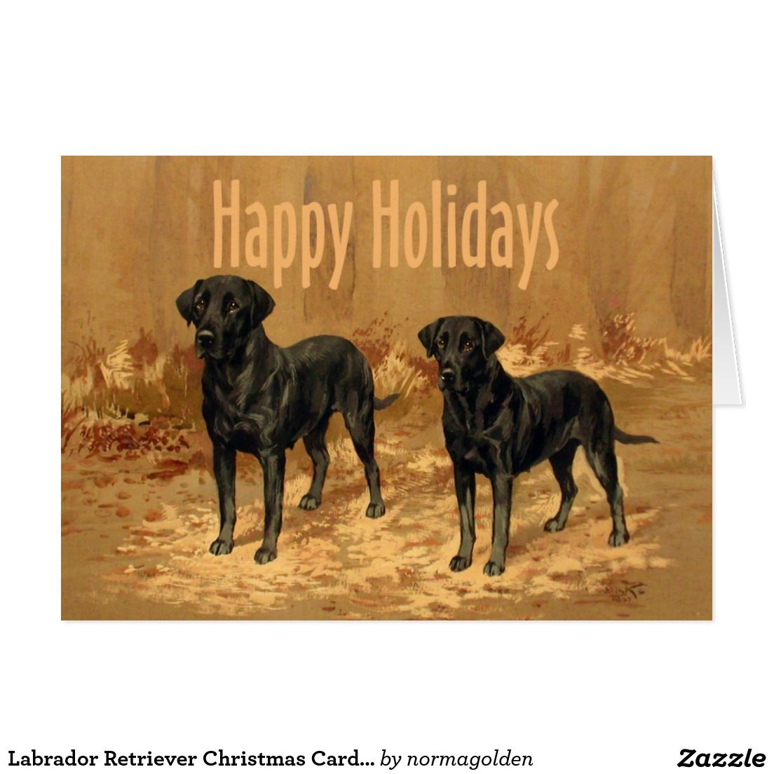 Labrador Retriever Christmas Card Vintage | Custom VINTAGE CHRISTMAS ...